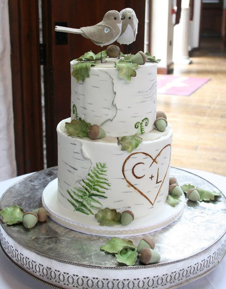 wedding cake decorations nz woodland theme wedding cake silver birch oak leaves 22406