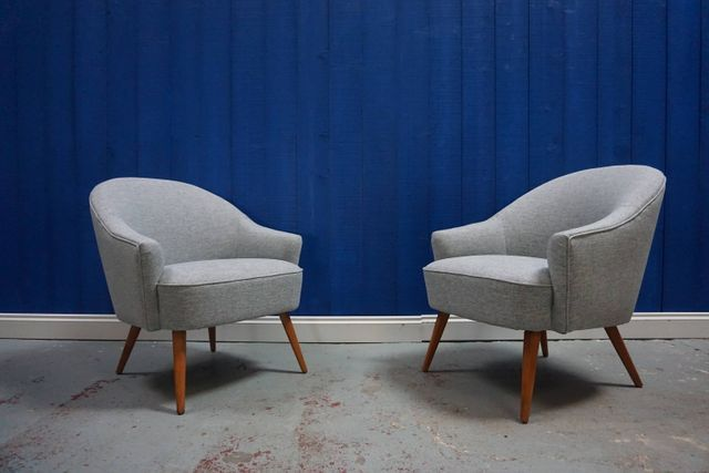These Chairs Date From The 1950s And Have Been Reupholstered In High Quality Beautiful Grey Tweed The Mid Century Cocktail Chair Chair Blue Dining Room Chairs