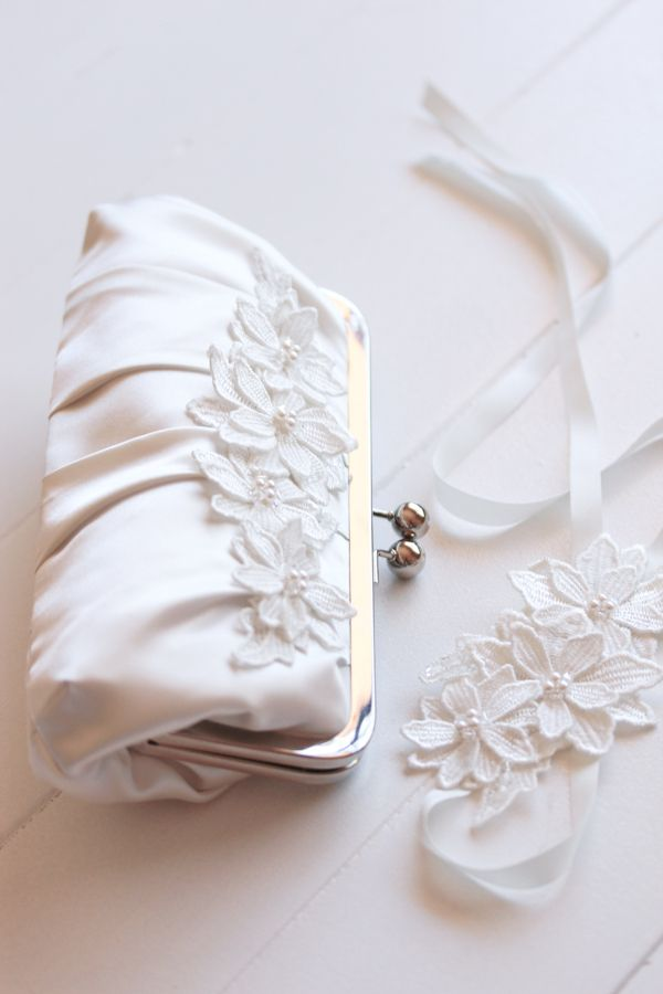 Bespoke bridal clutch and lace cuff for Jasmine