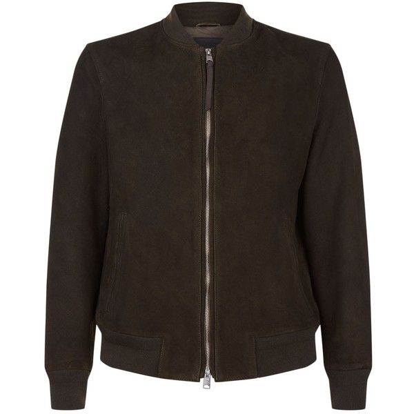AllSaints Ethin Bomber Jacket ($365) ❤ liked on Polyvore featuring men's fashion, men's clothing, men's outerwear, men's jackets, mens suede leather jacket, mens bomber jacket, mens suede jacket, mens zipper jacket and mens suede bomber jacket