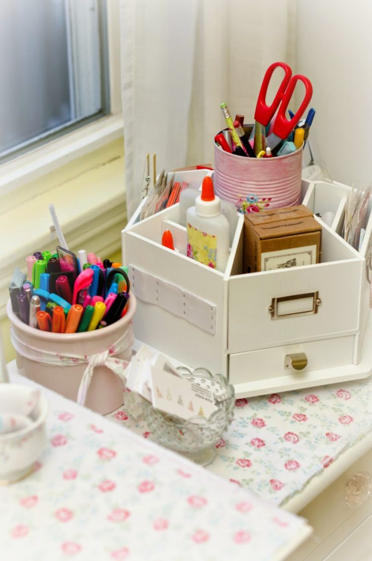 Tinkered Treasures used laminated cotton to pretty up the desk in her office!! So, pretty and practical!