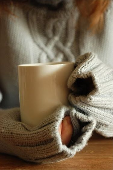 cozy sweater, cup of tea