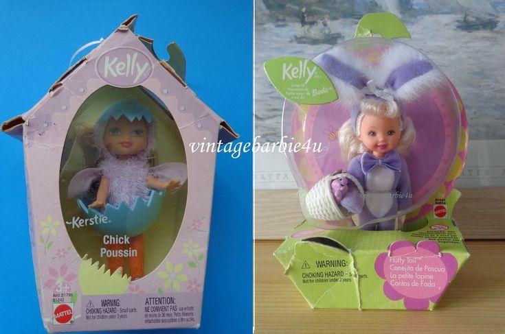 Barbie Kelly Doll Easter Lot Bunny Fluffy Tail Purple & Kerstie Chick NEW Mattel #Mattel #DollswithClothingAccessories