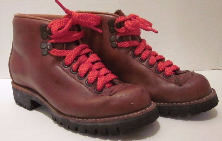 "Danner Work Boots Brown Leather Red Laces Size 5.5 B Vibram 4.5"" Tall Vtg 5 1/2 #Danner #WorkSafety"