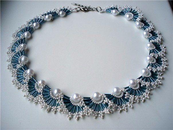 Ожерелья из бисера и бусин. Схемы плетения.