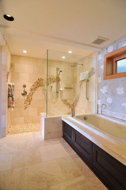 contemporary master bathroom with ms international tuscany classic travertine master bathroom floral wallpaper tile mosaic