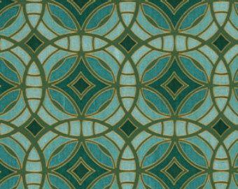 Teal Upholstery Fabric -  Aqua Geometric Contemporary Fabric Yardage - Silk Drapery Fabric