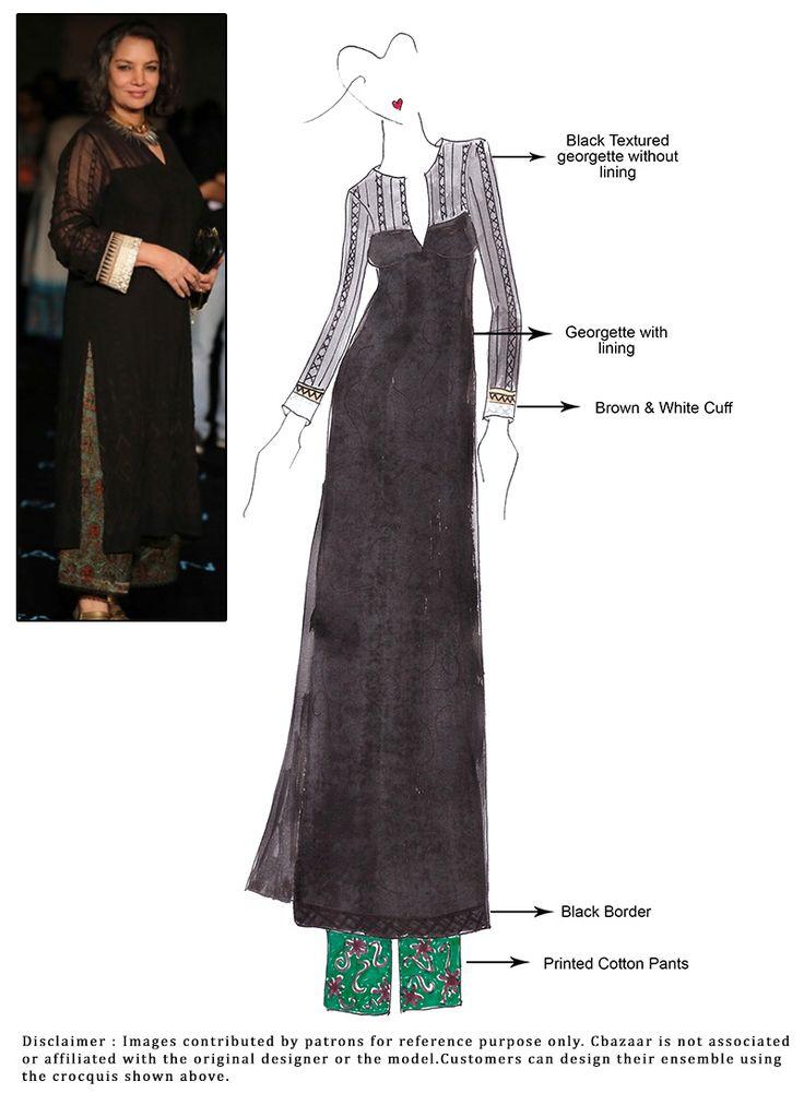 DIY Black Georgette Pant Style Suit