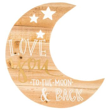 Love You Moon-Shaped Wood Wall Decor