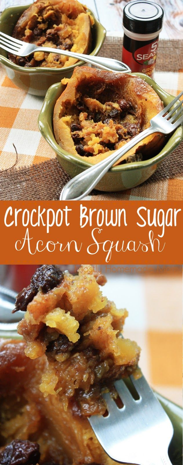 Crockpot Brown Sugar Acorn Squash - the perfect fall side dish recipe! Halved acorn squash, filled with brown sugar and raisins, and slow cooked until sweet and buttery!