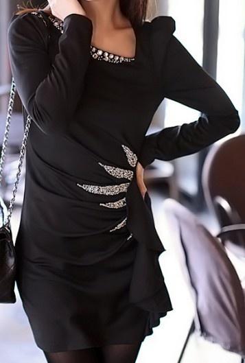 Black Long Sleeve Beading Ruffles Dress