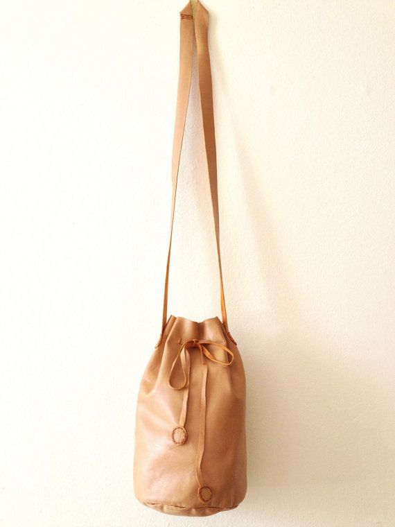 Soft Leather Drawstring Bag   Tan  100 Lamb Skin  Hand by YAYANI, £25.00