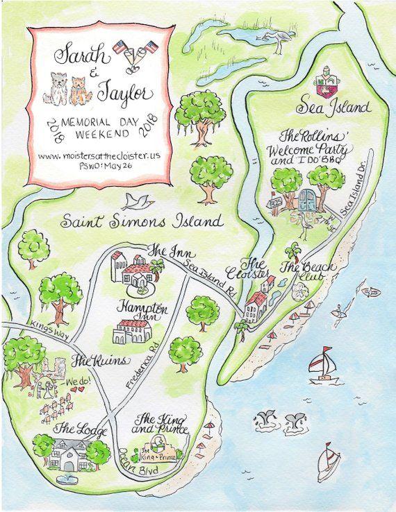 Custom Wedding Map Watercolor Map Saint Simon S Island