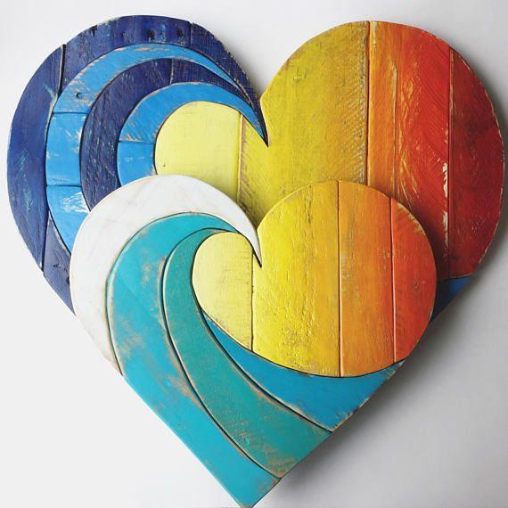 Holz Welle Herz rustikale Wohnkultur 20″, altgemacht Holz, Holzkunst, Wandbehang, Strand Kunst, Palette Holz, mehrfarbig, Frühling dec
