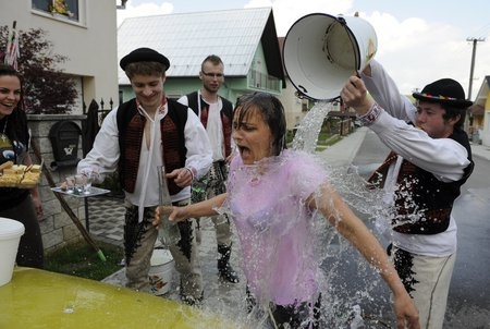 Easter in mostly eastern Slovakia means for women that they will get splashed with water. It symbolizes freshness and health.