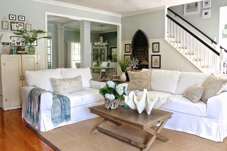 lovely living rooms beadboard | Lovely living room from Curious Details. White slipcovers ...