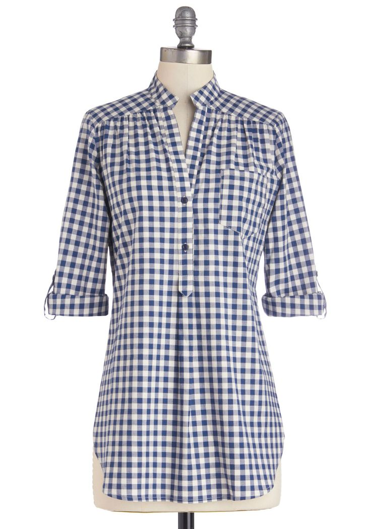 Bonfire Stories Tunic in Blue Gingham. Huddled around you, fascinated and filled with suspense, your pals hang on each word and wait for the plots fateful ending. #blue #modcloth