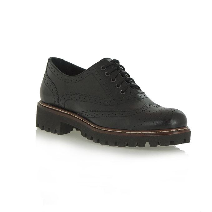 μαύρα δερμάτινα παπούτσια τύπου oxford | Tsakiris Mallas