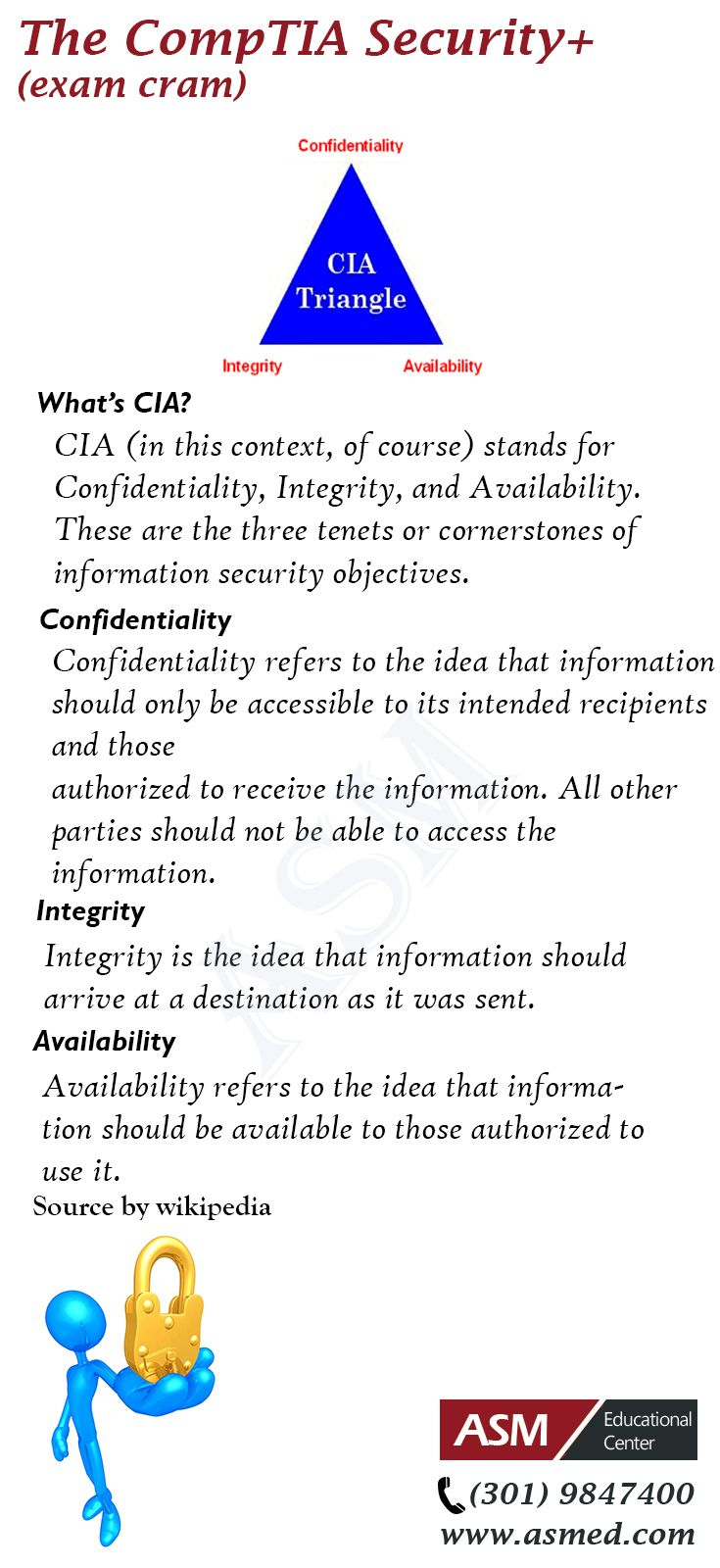 CompTIA Security+ - what's CIA? For more information to get certified for Microsoft MCSA, CompTIA A+, Network+, Security+ and Cisco CCNA, CCNP   Please Repin and go to : http://www.asmed.com/information-technology-it/