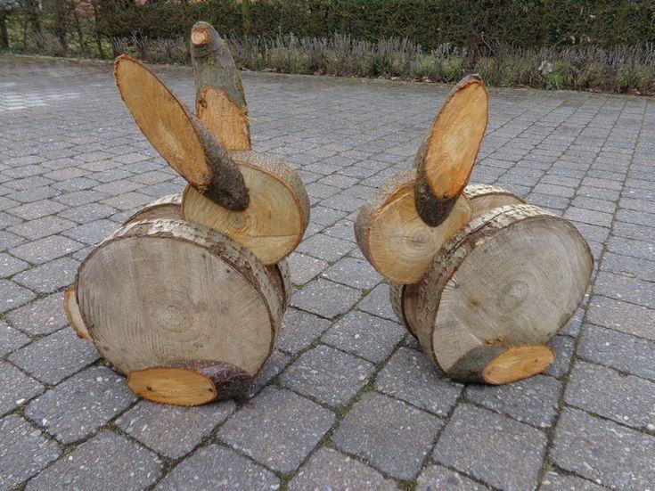 hasen basteln mit baumscheiben deko ostern garten #Easter #decor