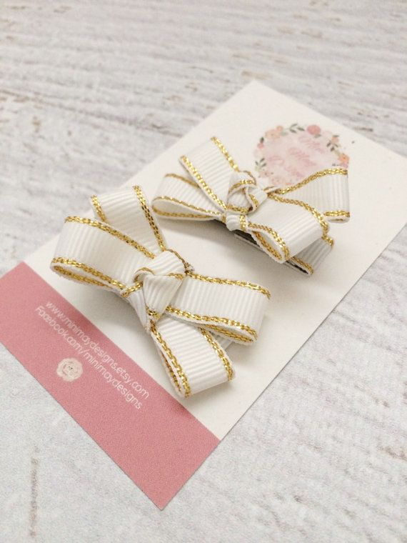 Gold Hair Bows  Girl's Hair Accessories  Sparkle by MiniMayDesigns