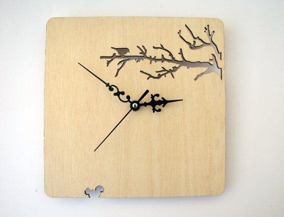 Laser cut Wood wall clock Branches and bird by indomina on Etsy, $35.00