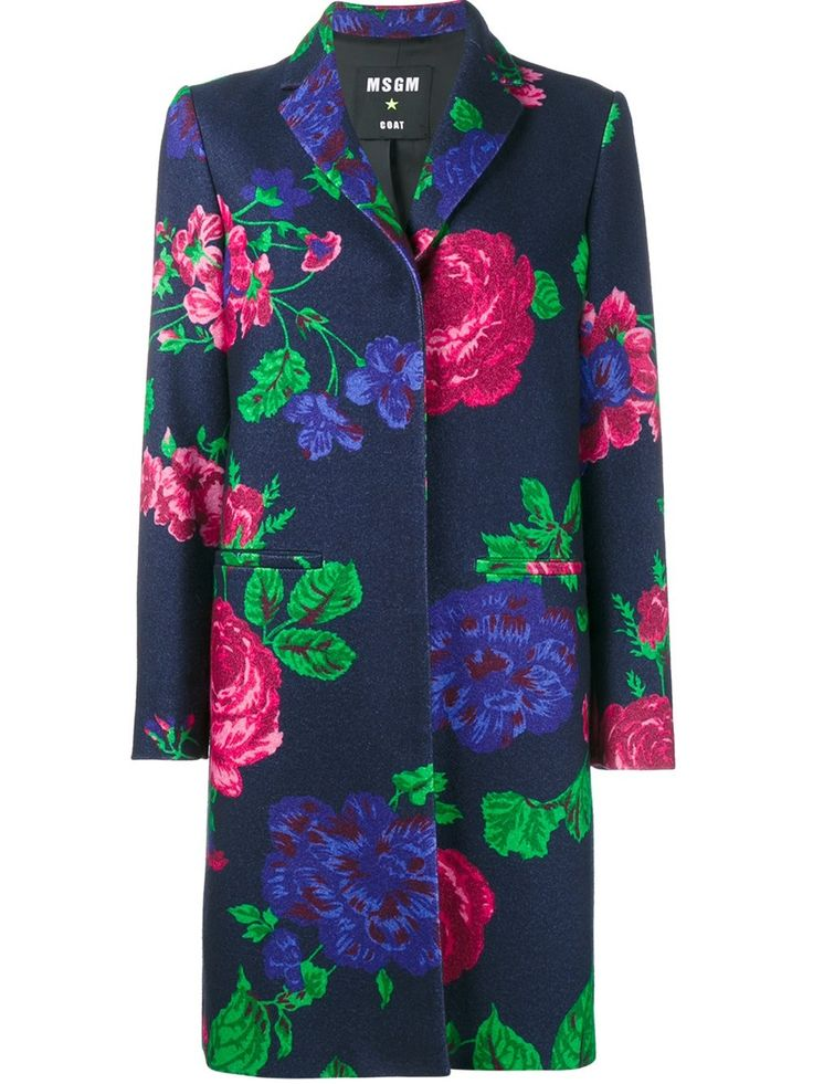 MSGM bloemen enkele breasted coat