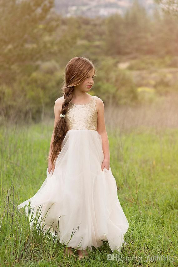 Strapless Bridesmaid Dresses 2015 Pageant Dresses Gold Sequined Ivory Tulle Flower Girls Dresses Hand Made Flower Communion Dress Girl Pageant Gowns Sleeveless Backless Teal Bridesmaid Dress From Faithfully, $52.36| Dhgate.Com