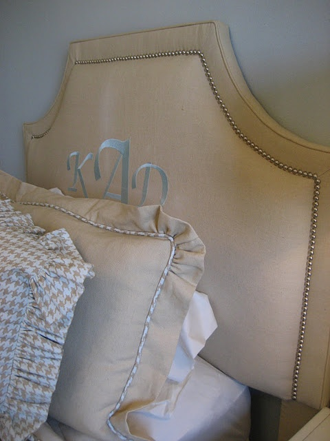 Live the bedding and monogrammed headboard- I would like the headboard to say be our guest