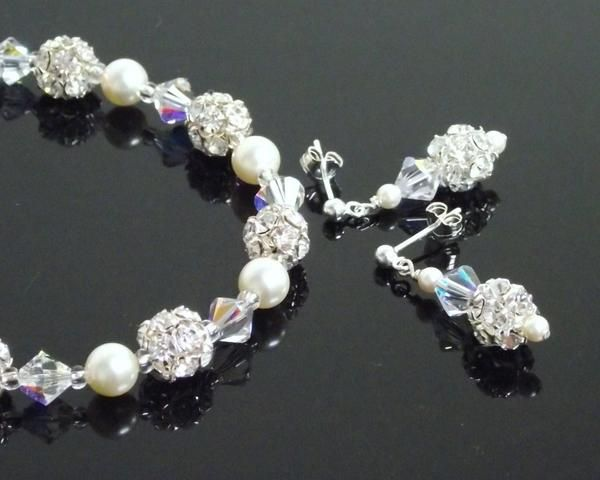 Bracelet & Earring Sets - Bridesmaids Bracelet & Earring Pearl Set, Natasha
