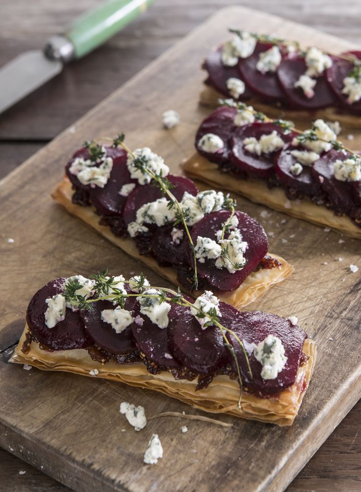 Effortlessly elegant, these filo tartlets from chef Adam Gray could be served as starter on their own, or as a lighter lunch with a crisp salad. The sweet figs and crisp filo pastry are the perfect foil for the rich blue cheese topping and earthy beetroot.