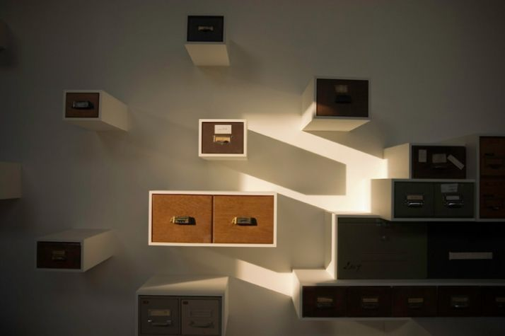 made of MDF and 2nd hand drawers