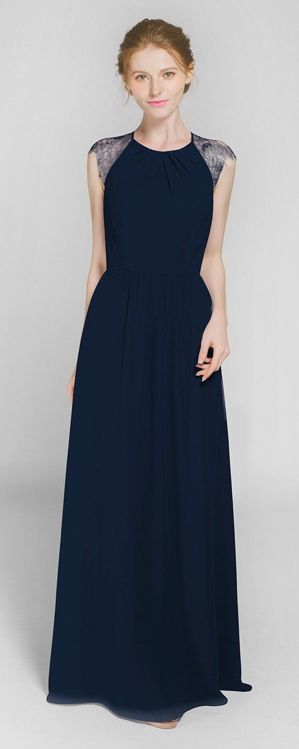 Graceful navy blue Long Chiffon Bridesmaid Dress with Lace Back TBQP369