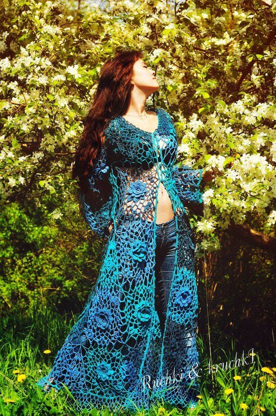 """Jacket Crochet Lace Roses Flowers Boho Gypsy A-line Long sleeves Wedding Bridal Turquoise Blue Teal """"Roses for Mermaid"""""""