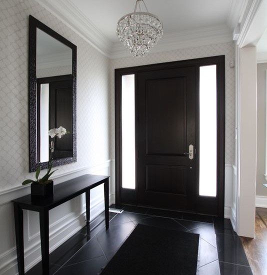 Entry wall paper design pictures remodel decor and for Entry decorating pictures