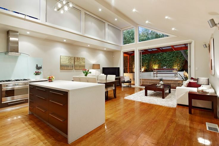 Modern living room, open plan living, modern kitchen