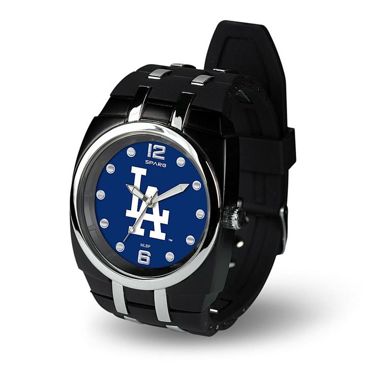 "Football Fan Shop MLB Team Logo ""Crusher Series"" Rubber Strap Sports Watch - Los Angeles Dodgers"