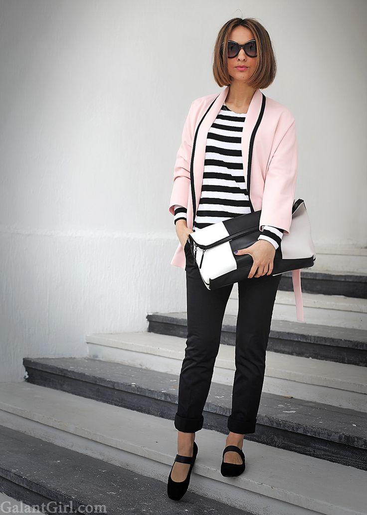 CLASSIC[autumn]: breton shirt; black trousers; pink blazer
