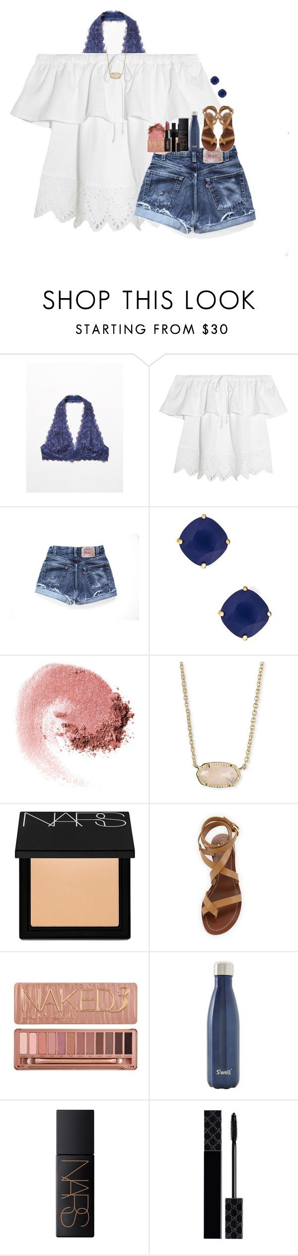 """""""getting schedules!"""" by hmcdaniel01 ❤ liked on Polyvore featuring Free People, Madewell, Levi's, Kate Spade, NARS Cosmetics, Kendra Scott, Tory Burch, Urban Decay, S'well and Gucci"""