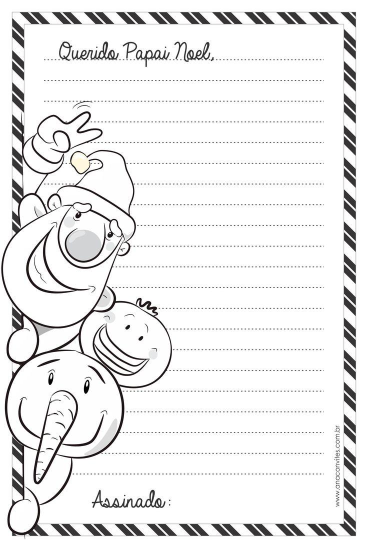Arquivo para download de carta ao Papai Noel para imprimir e colorir. Grátis.