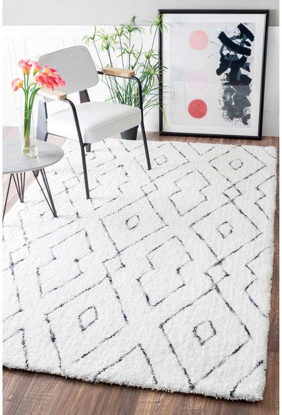 nuloom handmade soft and plush diamond lattice shag white rug white area ruggrey