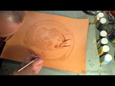 Painting on leather 1 - YouTube