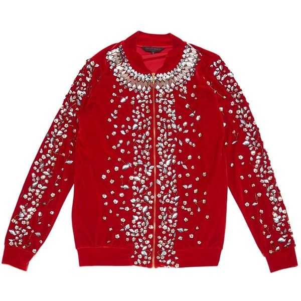 Pre-owned Manish Arora Velvet Jacket (2 665 PLN) ❤ liked on Polyvore featuring outerwear, jackets, red, women clothing jackets, zip jacket, flower jacket, red zip jacket, red zipper jacket and red velvet jacket