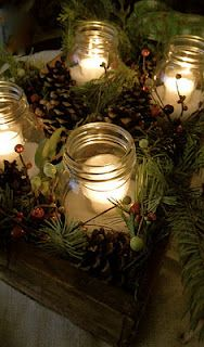 Winter Rustic Crate & Pine Centerpiece