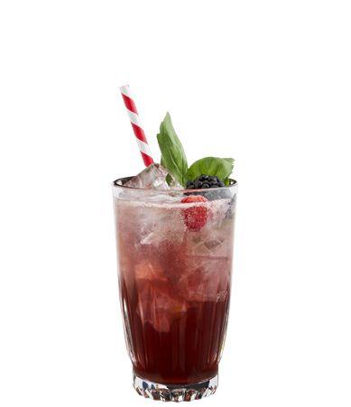 Ingredients: 25 ml De Kuyper Raspberry, 25 ml Bourbon, 15 ml Lemon juice, 5 ml Sugar syrup, Top up with lemonade. Glass: Longdrink. Garnish: Raspberries, bramble and a sprig of basil. BUILD all ingredients into ice-filled glass.