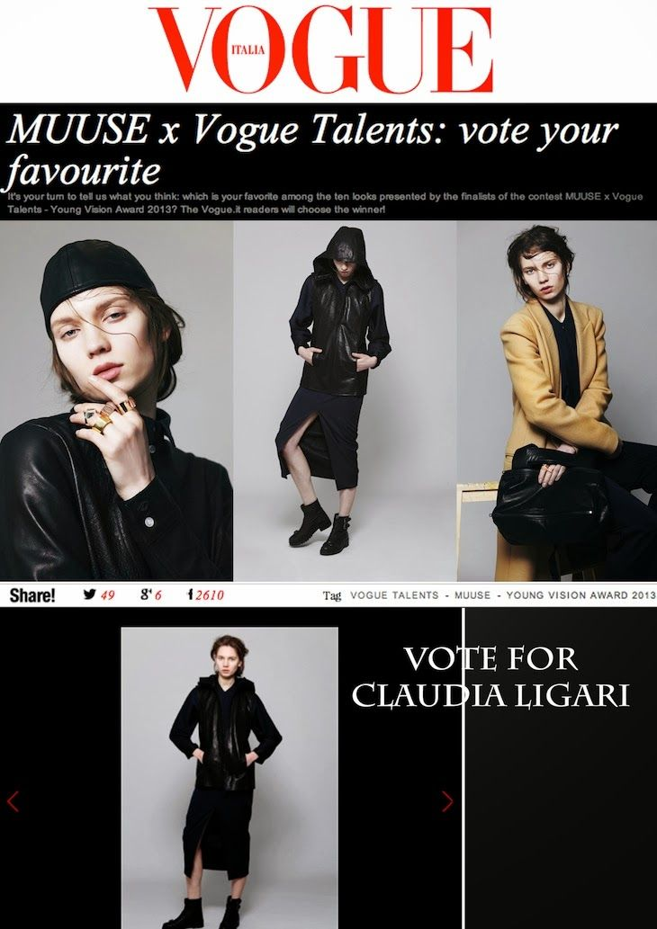 @Vogue @Badea Muriel #youngvision2013 , #VogueItalia #concorsi #contest, #ClaudiLigari #fashion #collection , #London #dark #fashion #design #fashionblog #fashionblogger #accessories