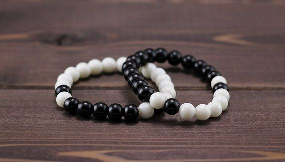 Pair bracelets of black and white agate for him by PrismaDesign