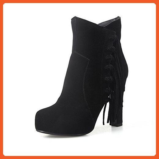 MINIVOG Women's Side Tassel Handmade Suede Leather High Heel Ankle Boots Black 9 - Boots for women (*Amazon Partner-Link)