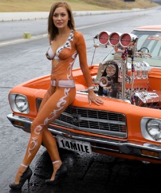 Topless Women With Hot Rod Cars 43