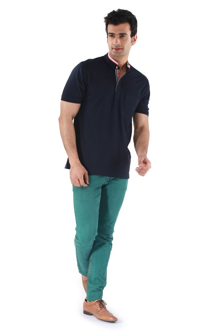MUDO Solid Navy Blue Henley with red white and grey striped round neck